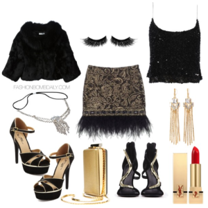 What-to-Wear-For-New-Years-Eve-Badgley-Mischka-Hexagonal-Black-Sequins-Top-Posh-Paisley-Skirt-Yves-Salomon-Rabbit-Fur-Jacket