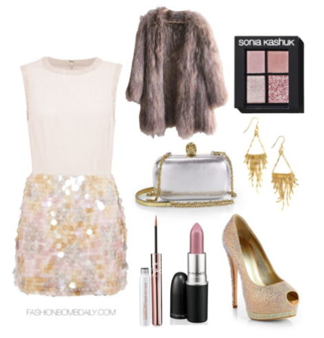 What-to-Wear-For-New-Years-Eve-French-Connection-Shimmy-Sequin-Dress-Giuseppe-Zanotti-Jeweled-Satin-Platform-Pumps-Alexander-McQueen-Classic-Skull-Leather-Convertible-Box-Clutch