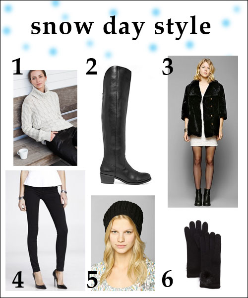 Snow day street style…featuring fur coats, long boots, and warm accessories